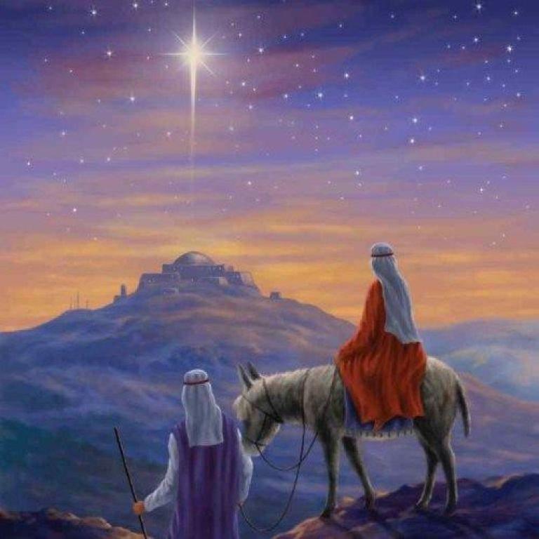 Joseph and Mary on the way to Bethlehem