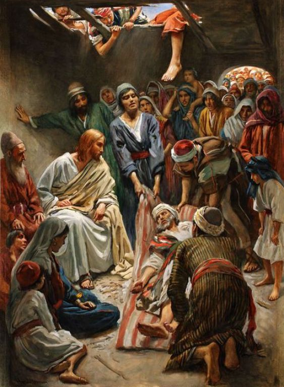 Jesus heals the Paralytic, Illustration by Harold Copping (1863-1932), Printed biblical illustration, Published in 1910