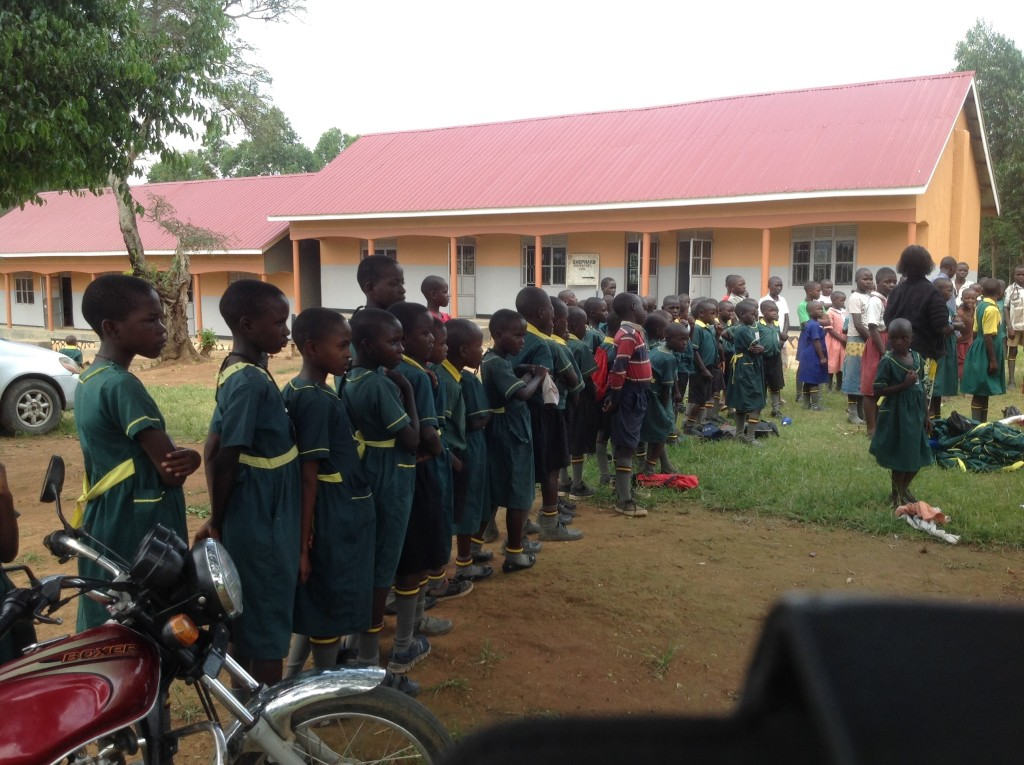 Kids receiving uniforms