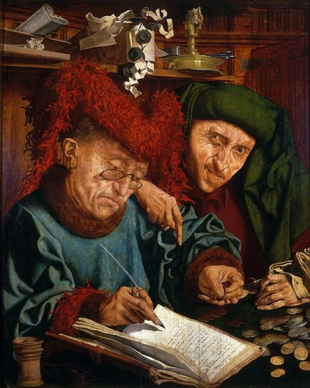 Marinus van Reymerswaele 'Two Tax collectors'; Dutch painter first half of the sixteenth century