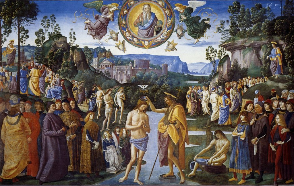 The Baptism of Christ is a fresco by the Italian Renaissance painter Pietro Perugino and his workshop, executed around 1482 and located in the Sistine Chapel, Rome.