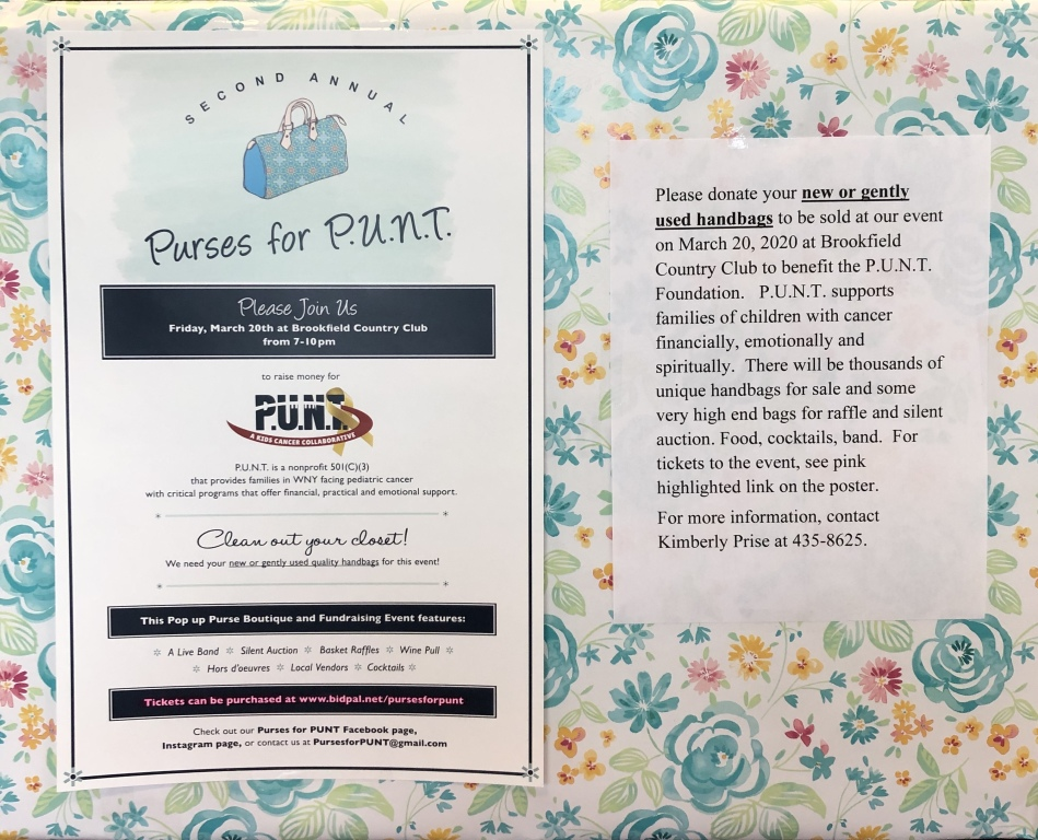 Purses for P.U.N.T. To support families of children with cancer.