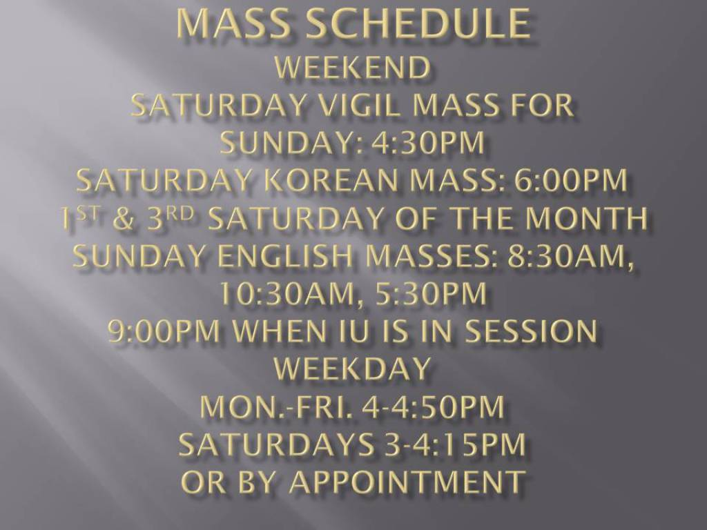 Weekend and Weekday Mass Schedule
