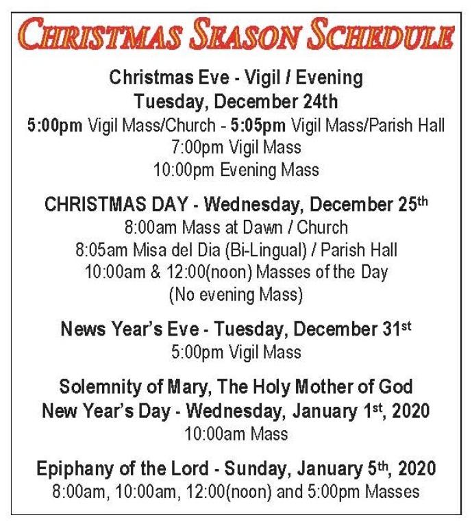 Christmas 2019 Schedule