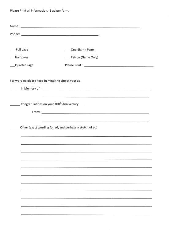 page 2 centennial adbook form for parishioners