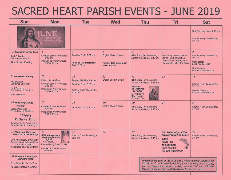 June 2019 calendar of events