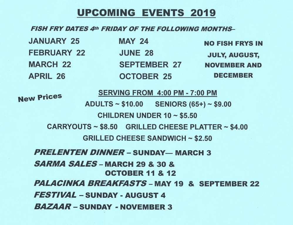 2019 events at a glance