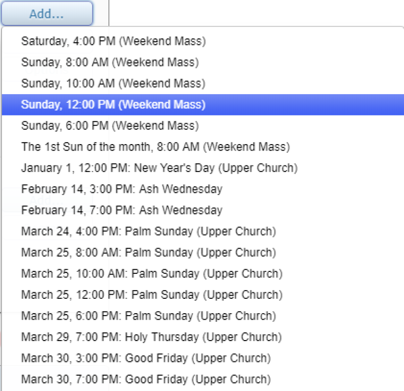 Ministries and Scheduling List of Masses