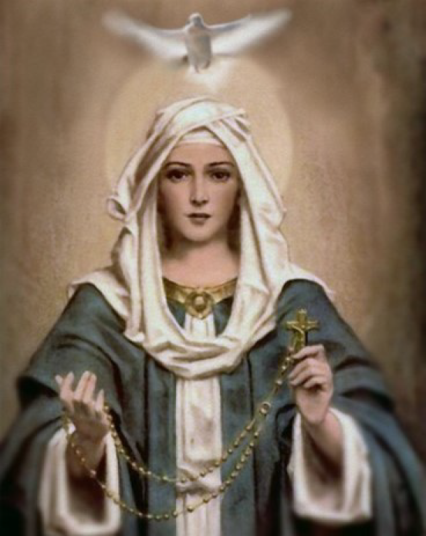 Mary with Rosary and Holy Spirit