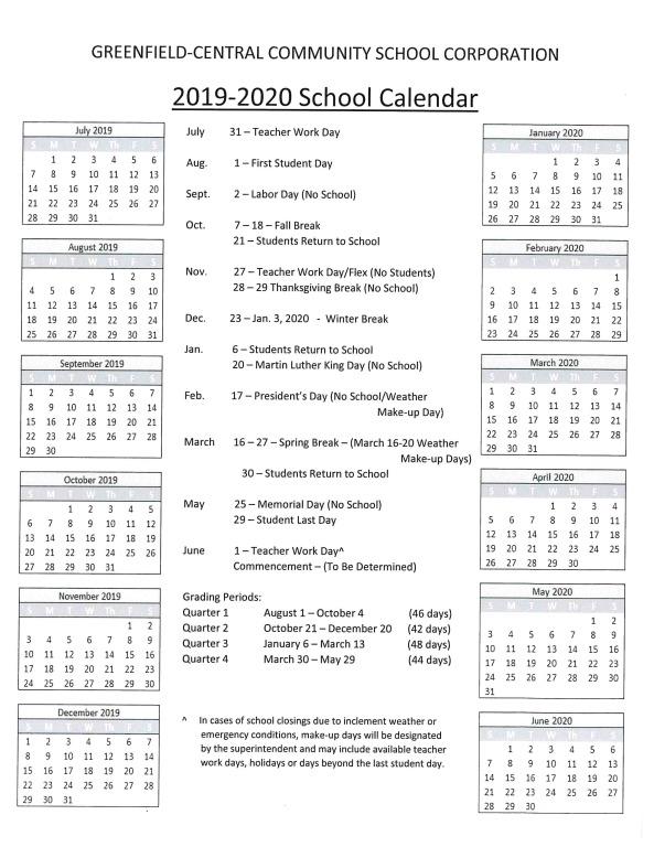 2019-2020 Balanced Calendar