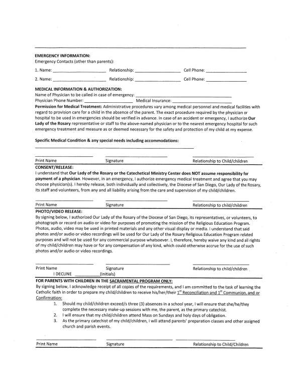 Emergency & Consent Form