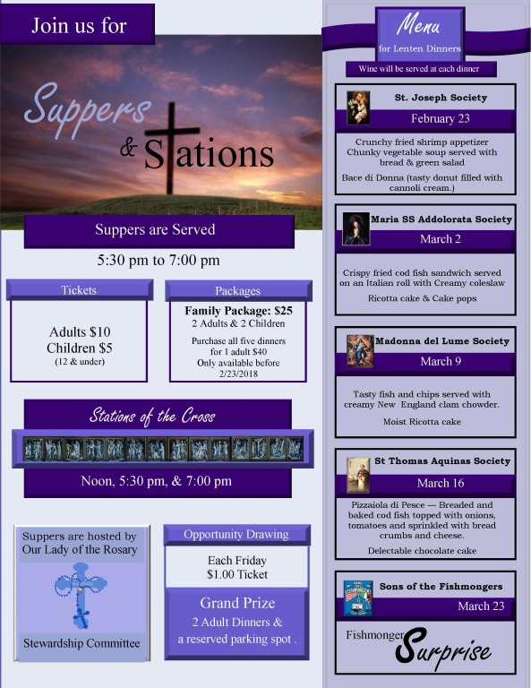 Lenten Dinners Our Lady of the Rosary 2018