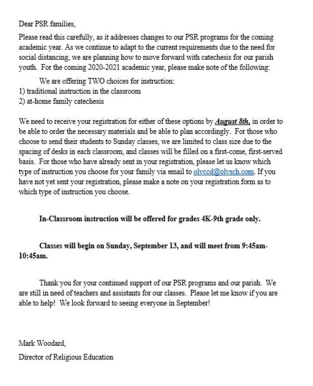 July 2020 PSR letter