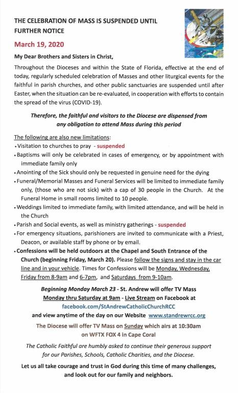 March 19 Mass Suspension Notice
