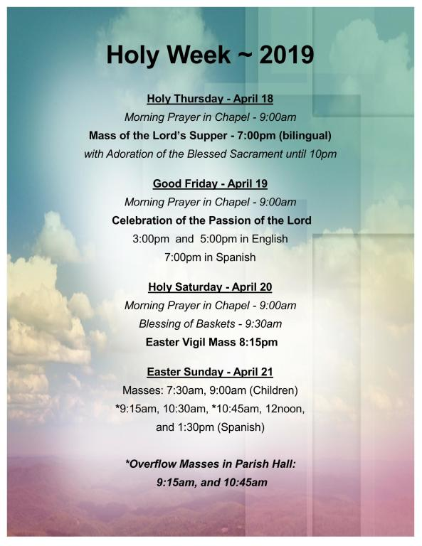 Holy Week 2019 Schedule
