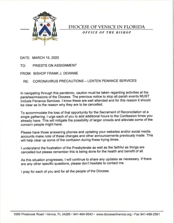 Bishop Letter Cancelling Penance Services