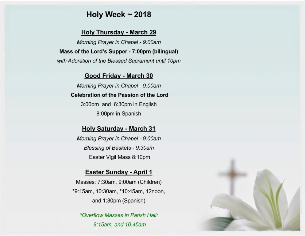 2018 Holy Week Easter Schedule