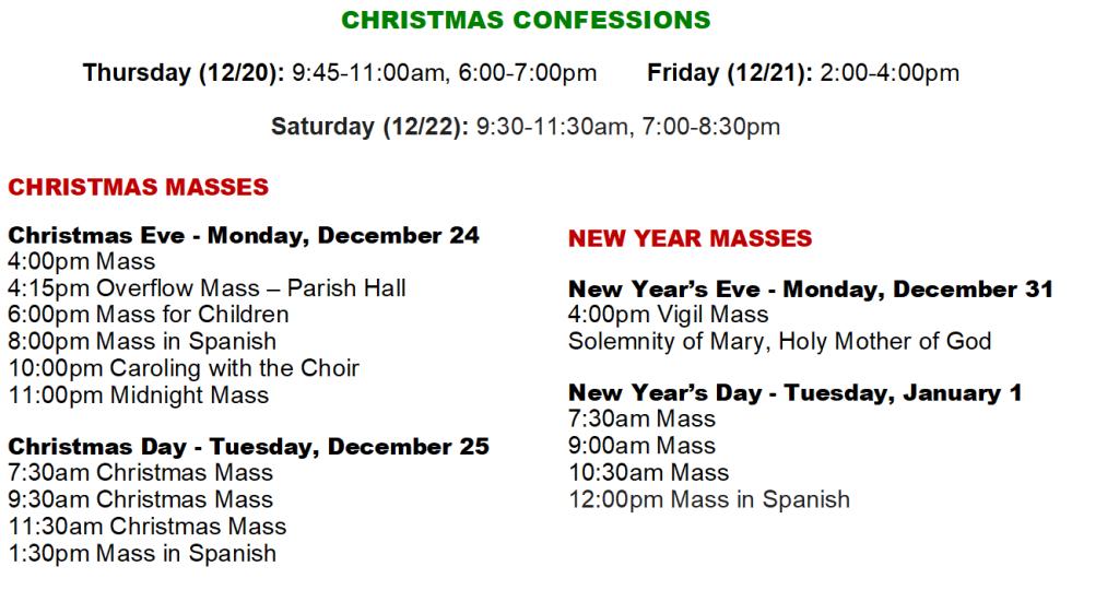 Christmas 2018 Schedule