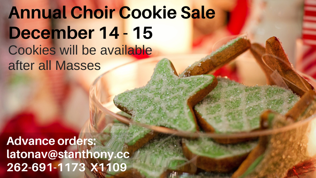 Choir Christmas Cookie Sale St. Anthony on the Lake