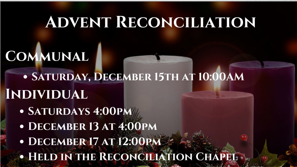 Advent Reconciliation at St. Anthony on the Lake