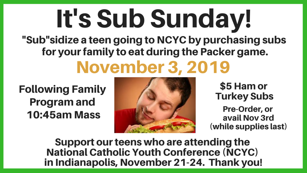Sub Sunday for NCYC