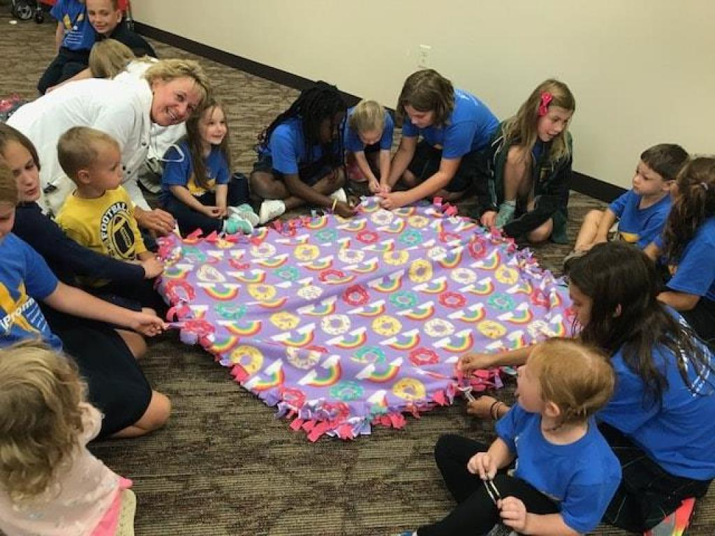 Tying Blankets for Childhood Cancer Awareness