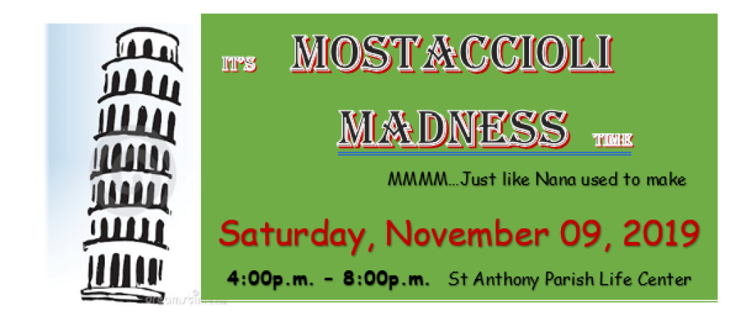 Mostaccioli Madness at St. Anthony on the Lake