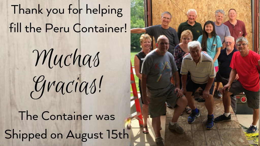 Thank you for helping fill the Peru Container at St. Anthony on the Lake