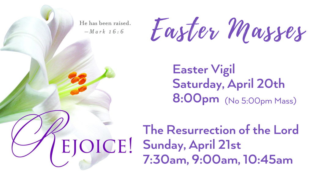 Easter Mass Schedule at St. Anthony on the Lake