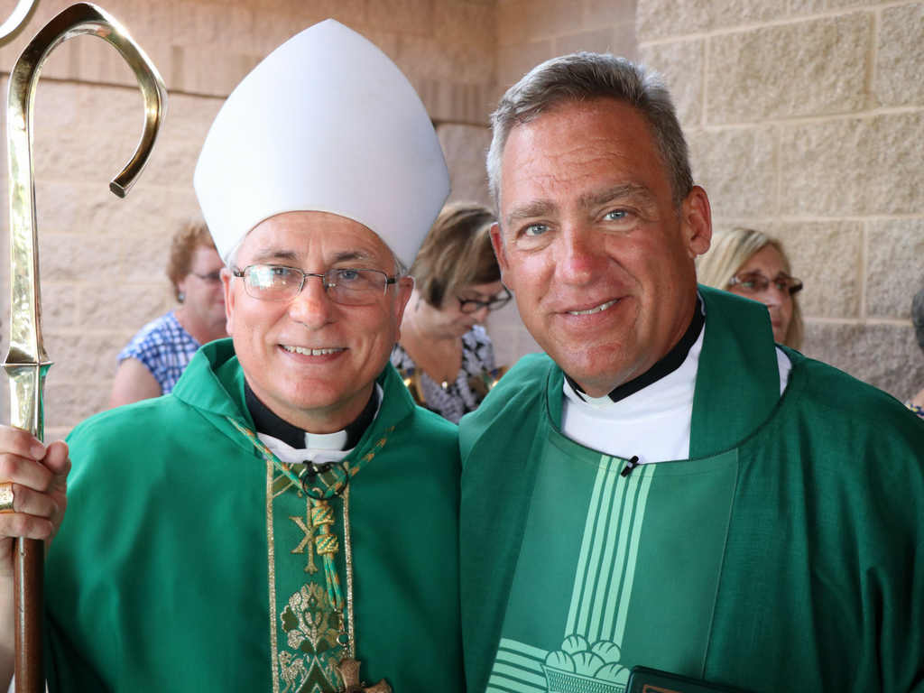 Bishop Haines and Father Tony at St. Anthony on the Lake