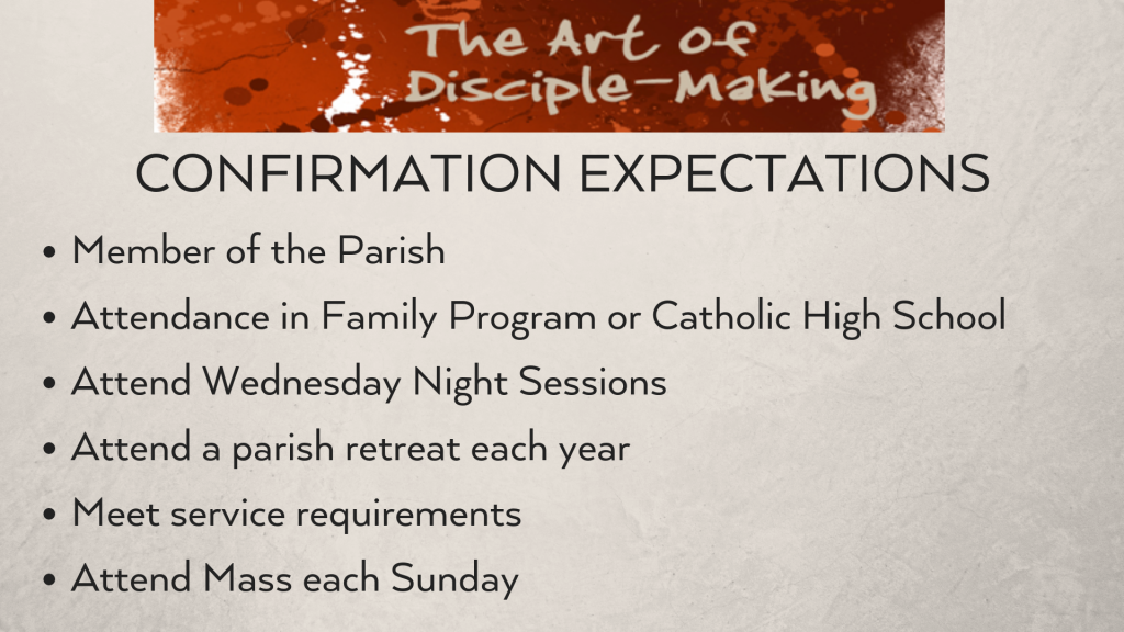 Confirmation Expectations at St. Anthony on the Lake