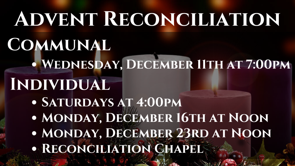 Advent Reconciliation Opportunities St. Anthony on the Lake