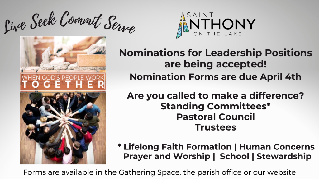 Nominations for Leadership Positions at St. Anthony on the Lake