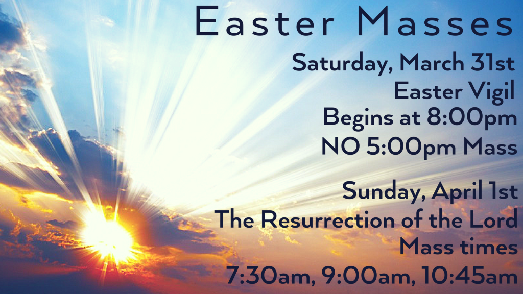 Easter Mass Schedule St. Anthony on the Lake