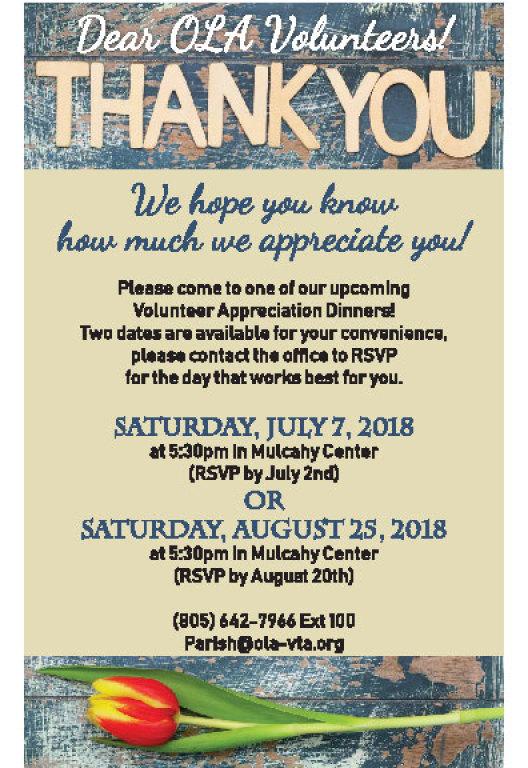 Parish Volunteer Appreciation Dinner 2018