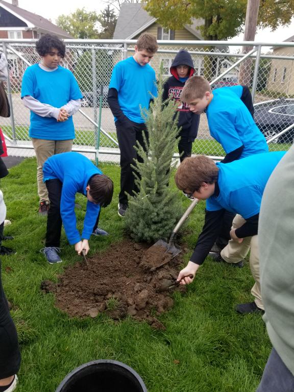 Grade 8 planting Jerry.