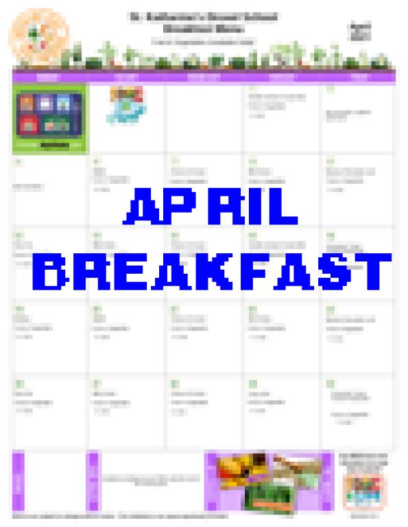 April Breakfast Menu