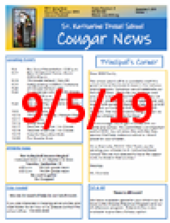 Sept. 5, 2019 Newsletter