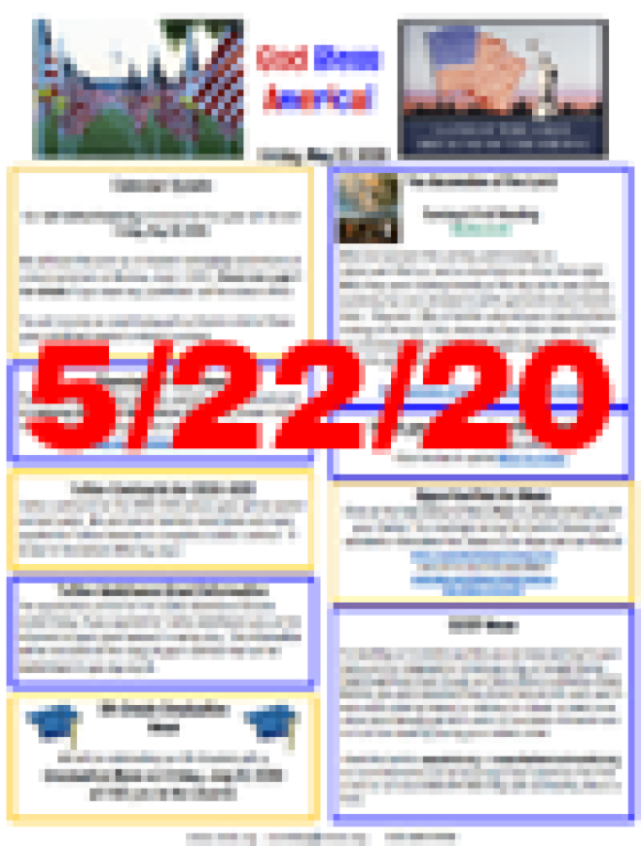 May 22, 2020 Newsletter