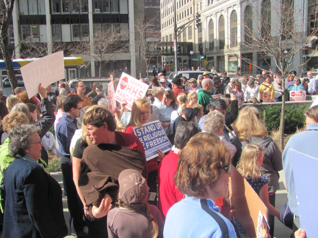 Catholics from across the range rallied in the Twin Cities on March 23 in support for religious freedom.