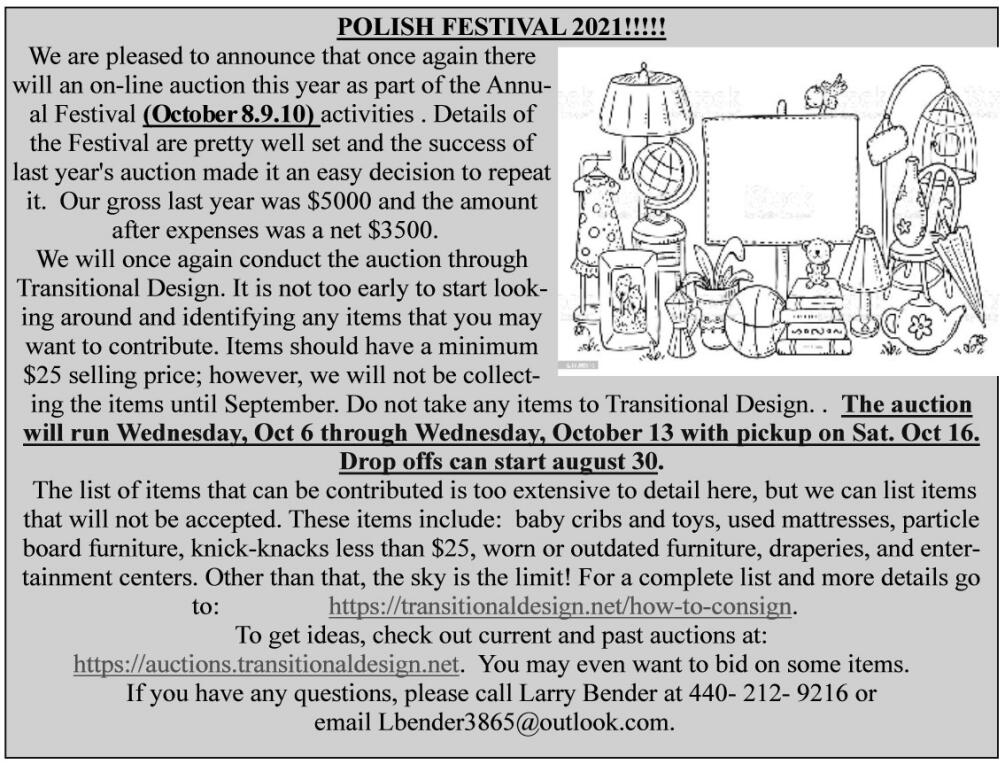 2021 Auction Information