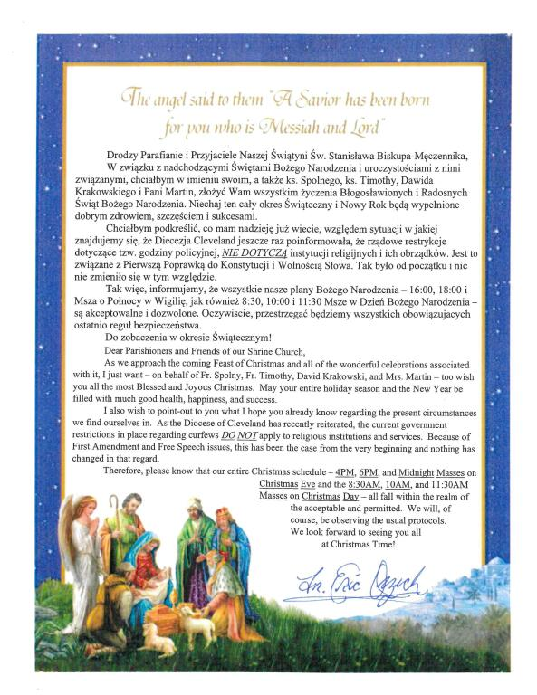 2020 Christmas Eve/Day Mass Information