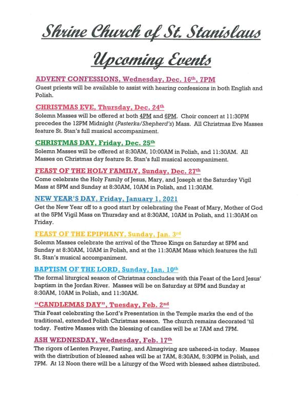 2020 Christmas Parish Event Calendar