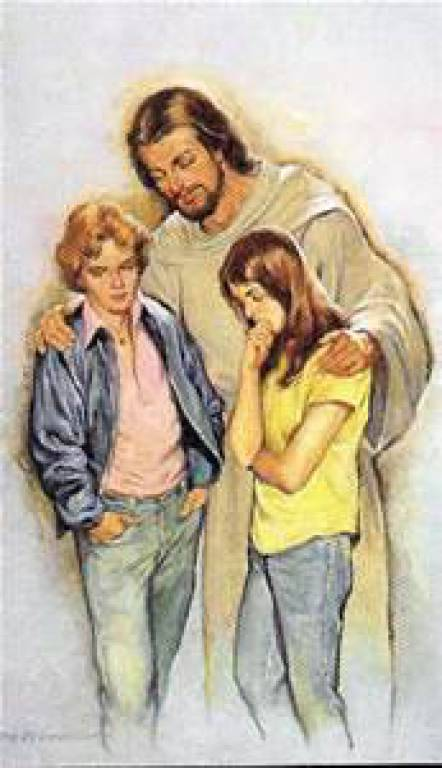 Jesus with modern teenagers