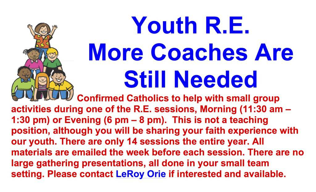 Youth R.E. Coaches Needed