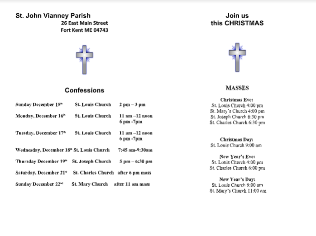 Christmas Masses and Confession