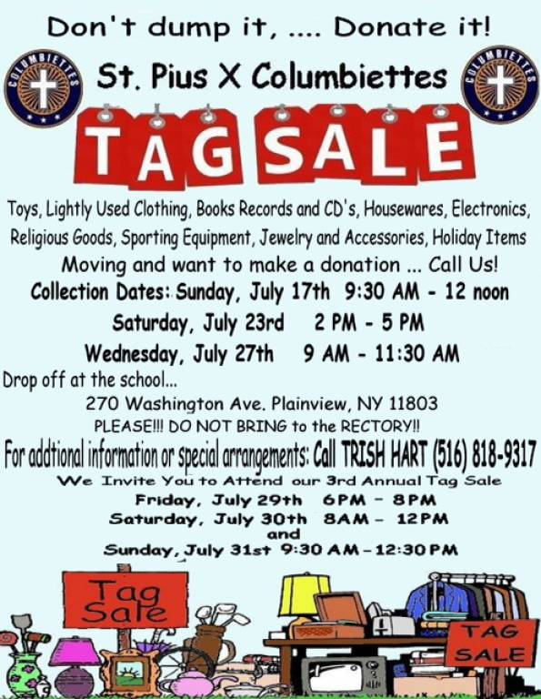 Columbiettes' Tag Sale   St  Pius X RC Church, Plainview NY