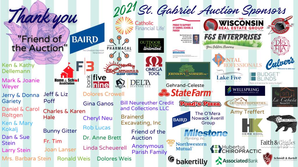 St Gabriel Auction Sponsor List