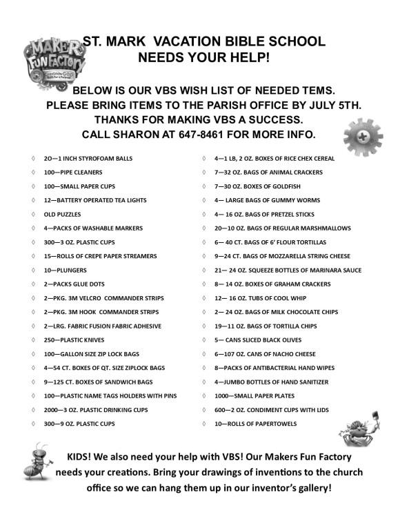 VBS Wish List