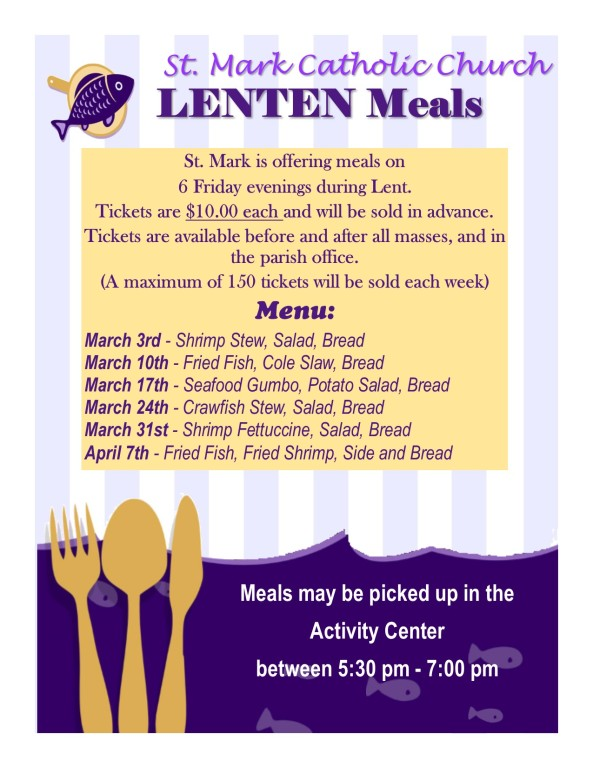 Lenten Meal Schedule